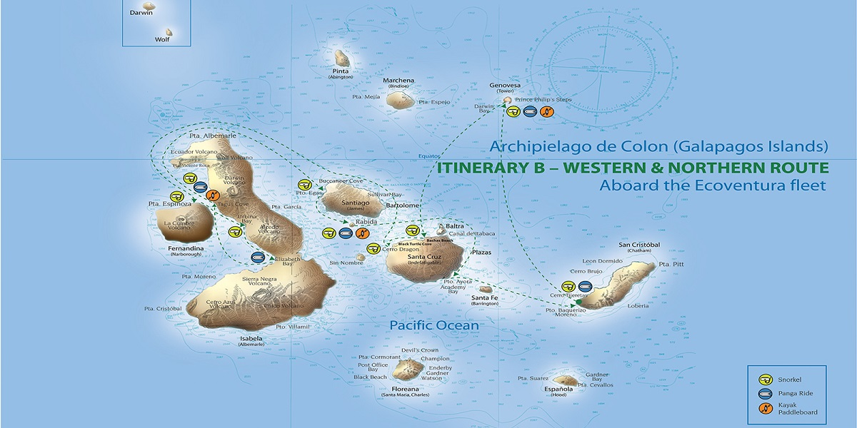 Galapagos Nature Cruise Itnerary Map